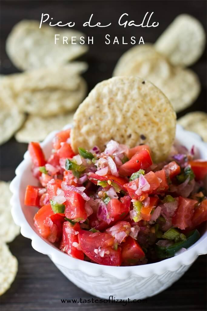 bowl of pico de gallo with tortilla chip