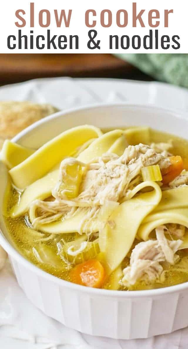 Comforting Copycat Bob Evans Chicken & Noodles is one of our favorite slow cooker recipes. With thick, amish noodles, it's pure comfort food! #chicken #soup #noodles #bobevans via @tastesoflizzyt