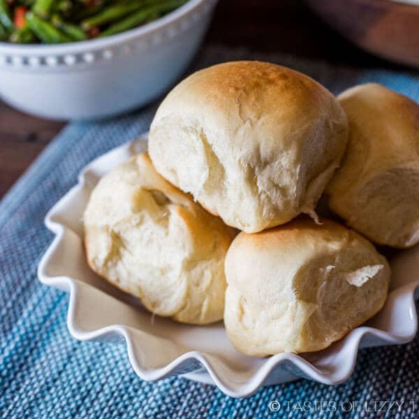 bowl of soft dinner rolls
