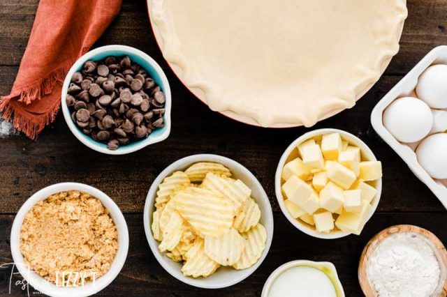 ingredients for chocolate chip pie
