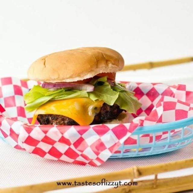 cola hamburger in a basket