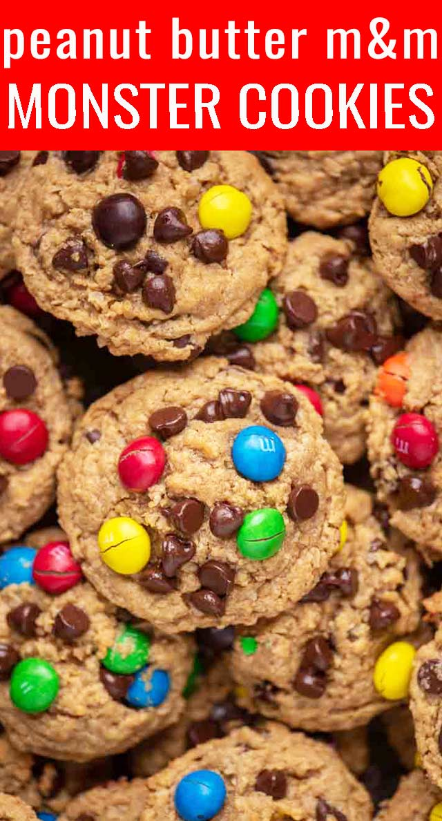 Peanut Butter M&M Monster Cookies are full of peanut butter, oatmeal, M&M's, chocolate chips and....no flour. Big batch cookies that are freezer friendly. via @tastesoflizzyt