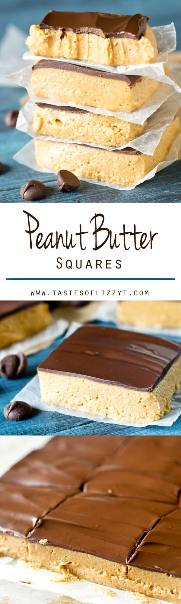 peanut butter squares recipe / homemade reese's cups / easy dessert recipe / no bake dessert / chocolate / peanut butter / school lunch Peanut Butter Squares are the classic school lunchroom treat from your childhood. This no-bake dessert has peanut butter topped with a layer of chocolate.