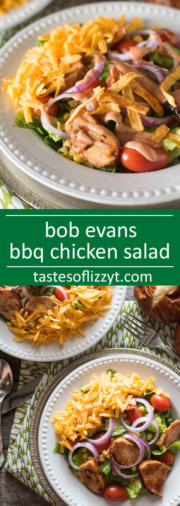 This Barbecue Chicken Salad is a copycat of Bob Evans' Wildfire Chicken Salad. Tangy barbecue chicken tops a bed of fresh veggies. Drizzle with a simple 2-ingredient barbecue ranch dressing. easy summer salad recipe / copycat recipes / chicken salad / spicy salad