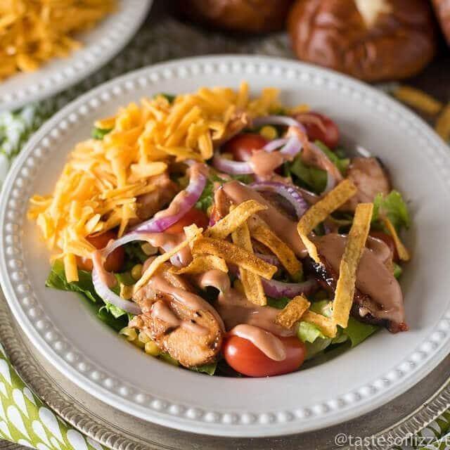 plate of bbq chicken salad