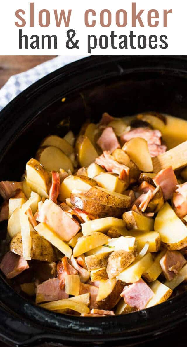 Slow Cooker Scalloped Potatoes and Ham...simple, creamy sauce over slow cooked potatoes and ham. An easy recipe made in the morning and ready after your long day! via @tastesoflizzyt