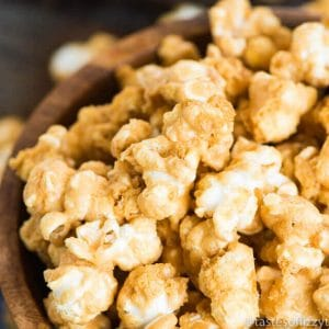 """This easy Homemade Caramel Corn Recipe will not disappoint! Perfect for an nighttime snack, vacation food, or """"Thank You"""" gift!"""