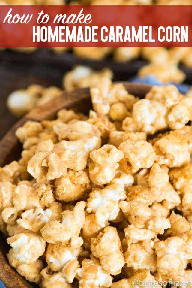 "This easy Homemade Caramel Corn will not disappoint! Perfect for an nighttime snack, vacation food, or ""Thank You"" gift! easy homemade caramel corn / fun party snack"