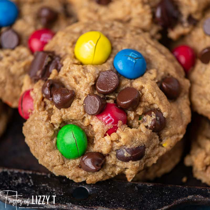 Monster Cookies with chocolate chips and m&ms
