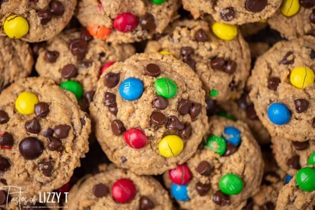 pile of chocolate m&M monster cookies