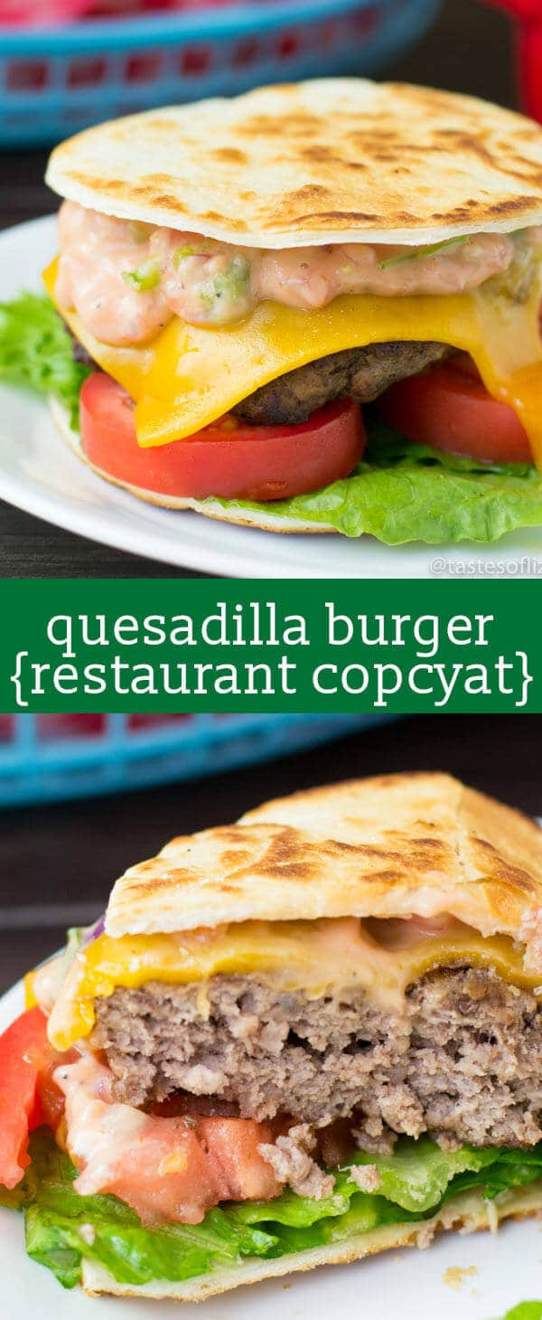 Quesadilla Burger...juicy grilled burger with cheese, pico de gallo, lettuce, and sauce in a flour tortilla! Our copycat version of an Applebee's favorite! best cheeseburger recipe / unique burger recipe / fun picnic food / fresh salsa