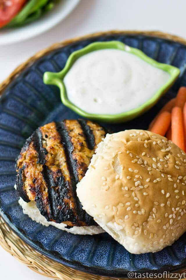 These Chicken Ranch Burgers are a great change of pace from the traditional burger. You'll love the combination of ranch dressing and barbecue sauce!