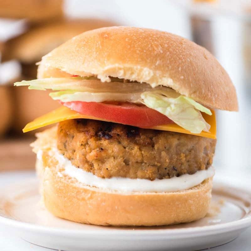 chicken ranch burger on a bun