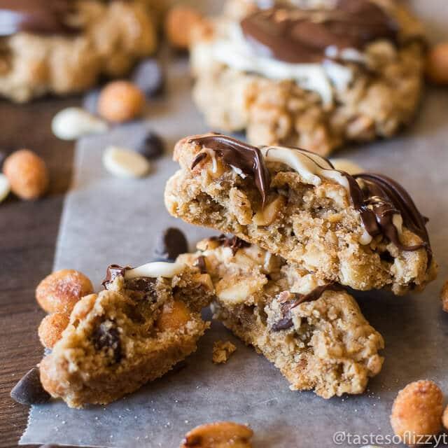 These Honey Roasted Chocolate Oatmeal Cookies are chock full of oatmeal, honey roasted peanuts, chocolate chips, white chocolate chips and a hint of cinnamon.