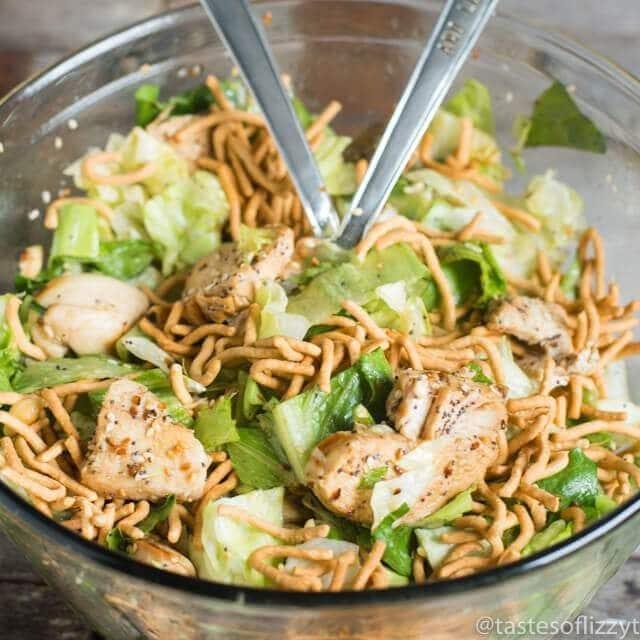 bowl of asian chicken salad