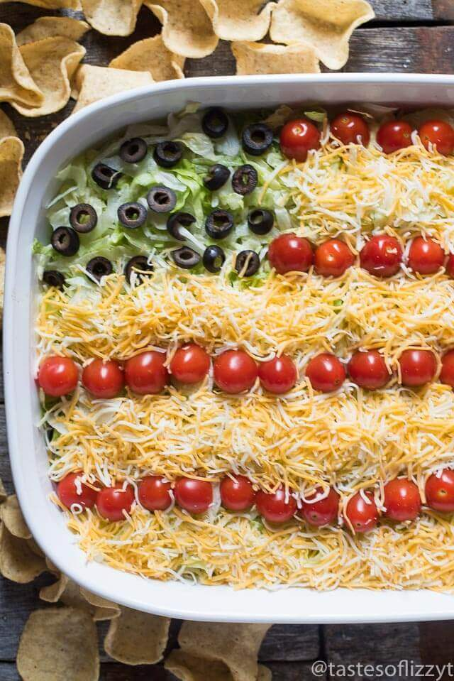 Patriotic Easy Layered Taco Dip