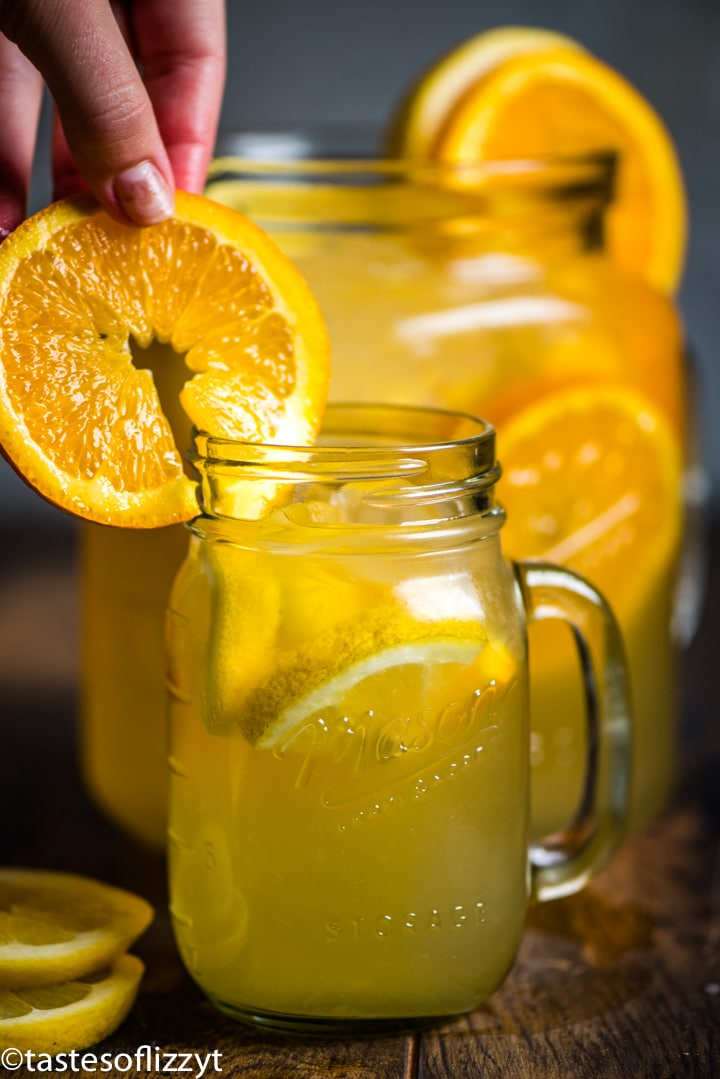A glass of orange juice, with Lemonade