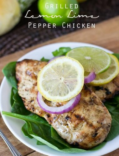 Grilled Lemon Lime Pepper Chicken. This simple marinade is heart healthy, sugar free, paleo and gluten free, but it gets rave reviews for being so tender each and every time!