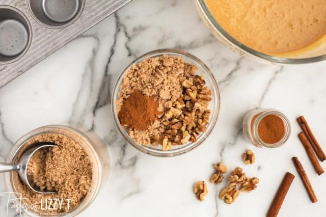 ingredients for streusel in a bowl
