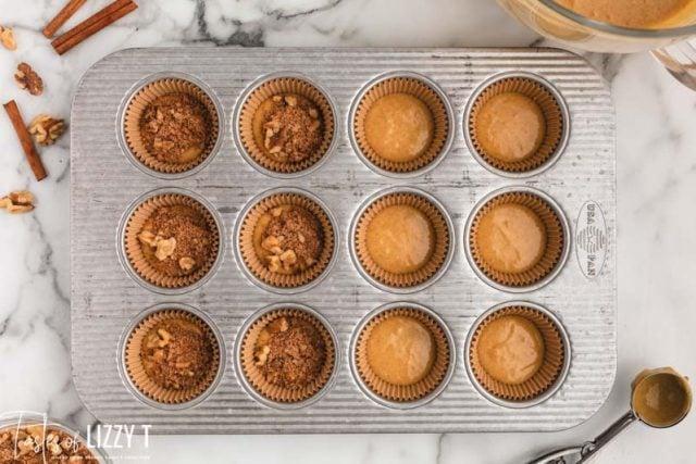 unbaked cinnamon streusel muffins