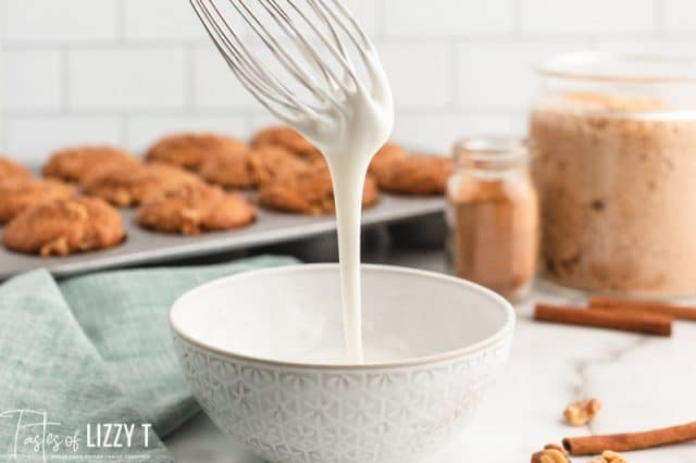 glaze dripping off a whisk