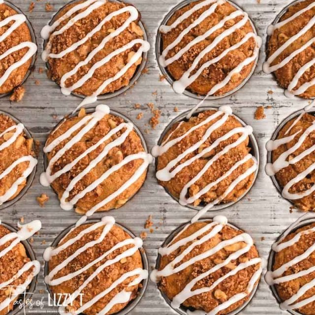 overhead view of cinnamon streusel coffee cake muffins