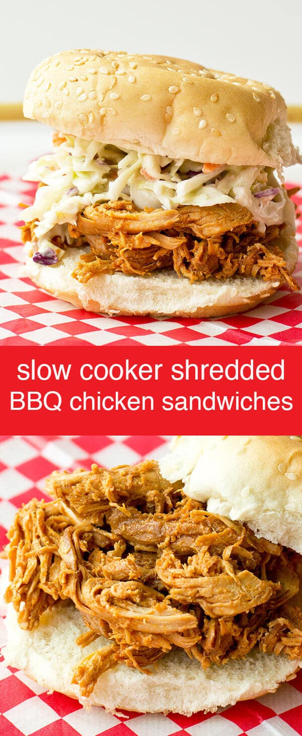 These Shredded Barbecue Chicken Sandwiches are made in the slow cooker and will be perfect for your next family gathering! Shredded Barbecue Chicken Sandwiches {Easy Slow Cooker Recipe}