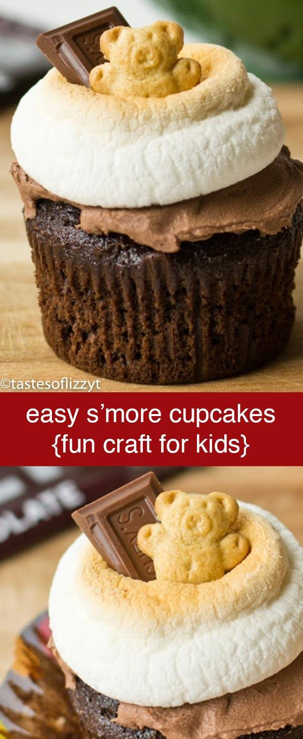 S'more cupcakes are a different take on the traditional S'more. Great for a camping themed party or a fun snack for kids! S'more Cupcakes {Easy Edible Craft Recipe for Kids}