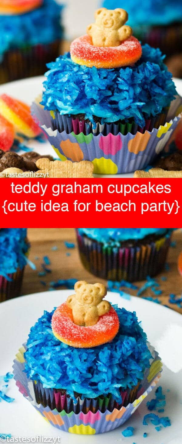 Teddy Graham Cupcakes {With Blue Water & Life Preserver Candy}  Teddy Graham Cupcakes are easy to make and so cute for a beach party, summer theme! A fun, edible craft. Kids will love making them!