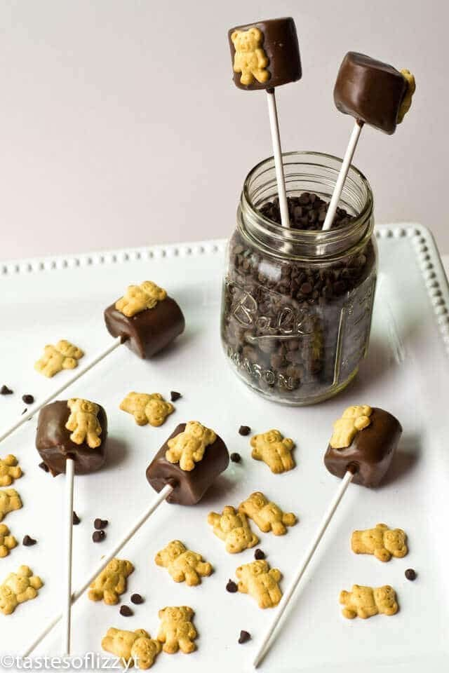 teddy graham smore\'s pops on a plate