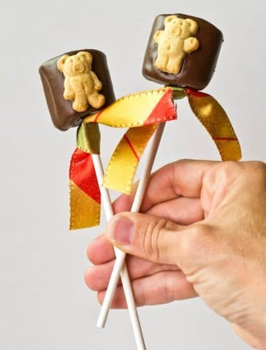 s'mores on a stick: chocolate covered teddy graham s'more pop
