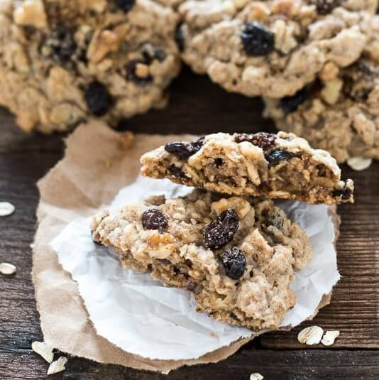 Soft, chewy, cinnamon oatmeal raisin cookies full of raisins and walnuts.