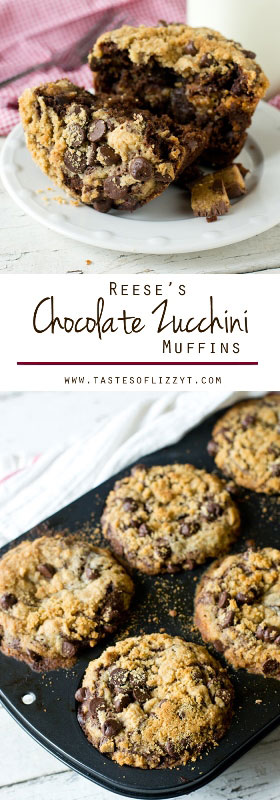 Reese's Chocolate Zucchini Muffins...Mega-sized, moist chocolate cupcakes with a peanut butter streusel layer and Reese's inside! Fun way to use zucchini / chocolate peanut butter recipe /easy mega muffin recipe / hidden veggies