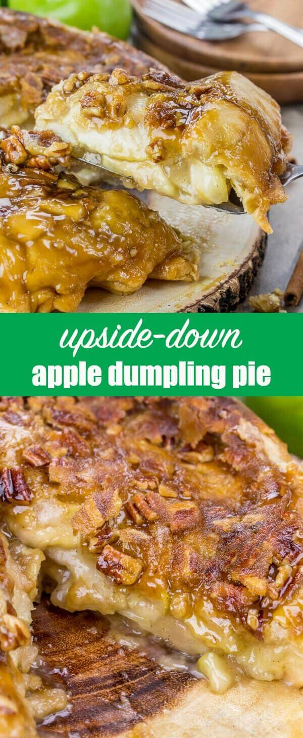 Take a pie and turn it upside down! This Upside Down Apple Dumpling Pie is loaded with apples and has a brown sugar pecan syrup baked into the crust. apple pie recipe / fall dessert recipe / thanksgiving dessert / delicious pie recipe