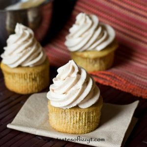 3 Apple Butter Buttercream Cupcakes without wrappers