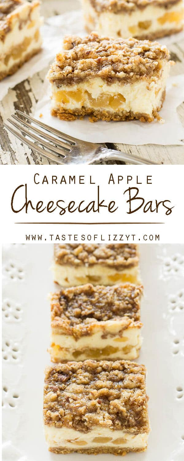 caramel apple cheesecake bars / cheesecake factory copycat recipe / cheesecake dessert / cheesecake bars with streusel / streusel topping You all know how much I love cheesecake. I don't get this decadent treat very much, and I rarely make cheesecake at home. However, when we are in a city near The Cheesecake Factory? We get cheesecake as often as we can. My go-to cheesecake usually has peanut butter and chocolate in it. But lately, the flavors of fall have been enticing me. I had to try our own version of the Dutch Apple Caramel Streusel Cheesecake from the Cheesecake Factory.