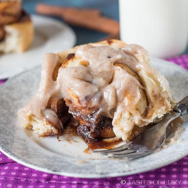 apple butter cinnamon roll with a bite out