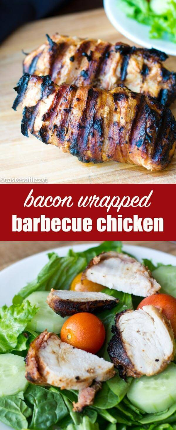 Bacon-Wrapped Barbecue Chicken: Grilled chicken marinated in barbecue sauce and wrapped in savory bacon. Fits paleo, gluten free and sugar free diets. Bacon-Wrapped Barbecue Chicken {Easy High Protein Dinner Recipe}