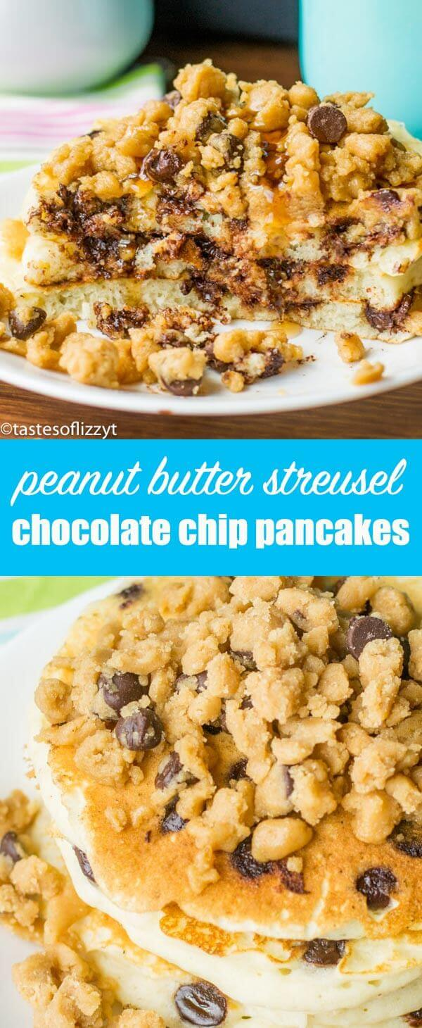 Peanut Butter Streusel Chocolate Chip Pancakes are the perfect breakfast for serious chocolate and peanut butter lovers! The best soft, fluffy, pancake recipe. homemade pancakes with streusel / unique pancake recipe / reeses pancakes