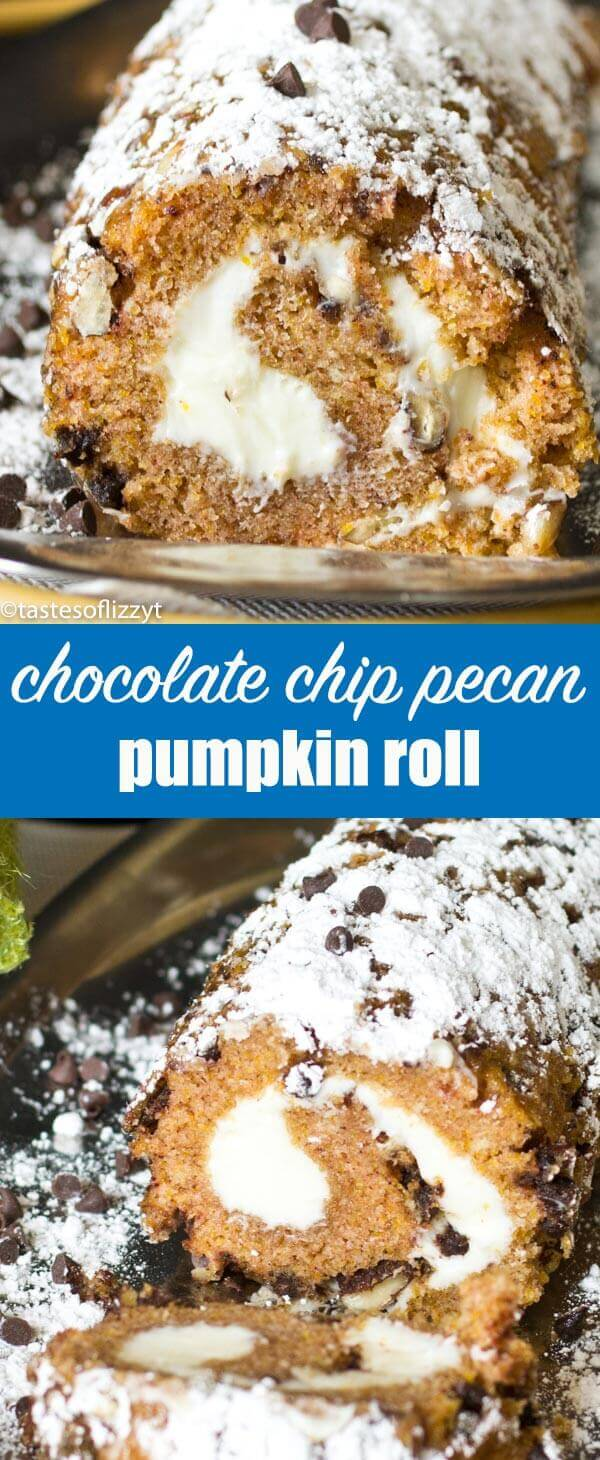 Chocolate Chip Pecan Pumpkin Roll has a creamy center and pecan & chocolate chips on the outside. The perfect hostess gift for holiday parties. Chocolate Chip Pecan Pumpkin Roll {Hints on how to make a pumpkin roll}