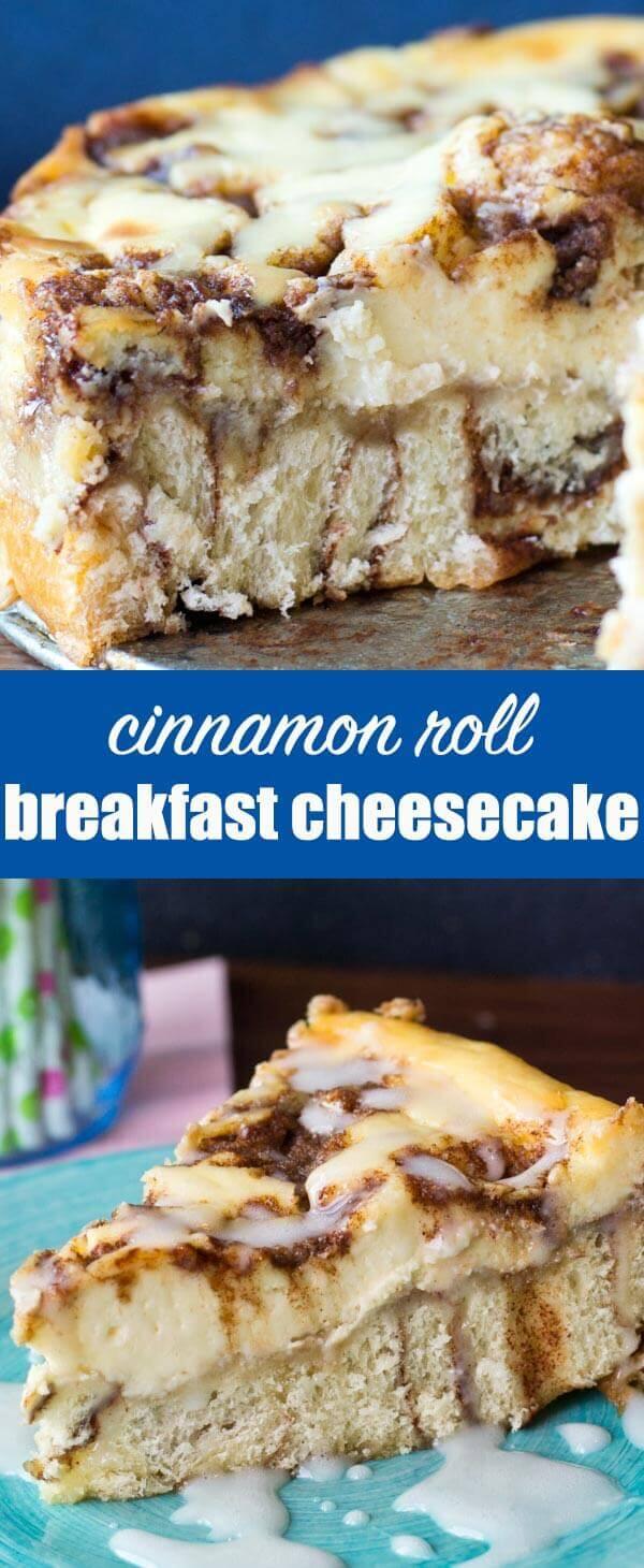 With cinnamon swirled cream cheese and a cinnamon roll crust, this Cinnamon Roll Cheesecake will quickly become your favorite dessert recipe (or even breakfast!). Cinnamon Roll Cheesecake Recipe {with Vanilla Powdered Sugar Glaze}