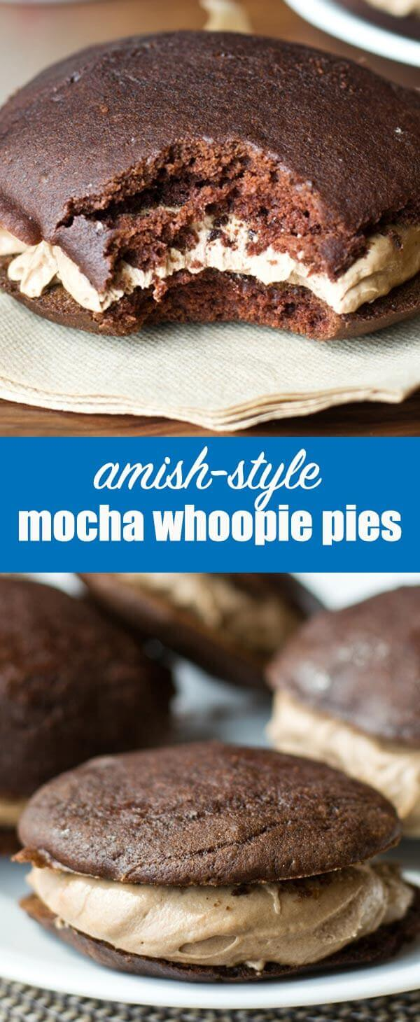 These Amish-style whoopie pies have a delicious mocha flavor. Coffee intensifies the chocolate in this Mocha Whoopie Pie recipe. Mocha Whoopie Pies {with Homemade Mocha Buttercream Frosting}