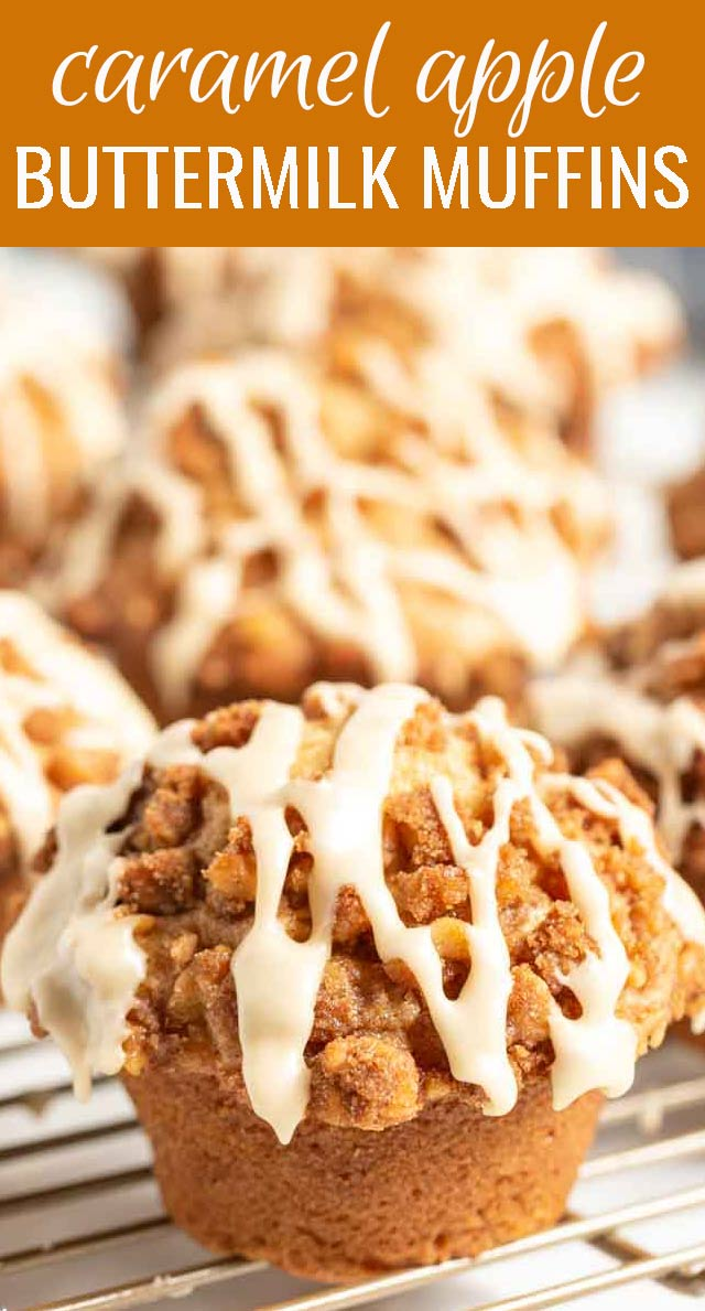 The key ingredient in Caramel Apple Buttermilk Muffins is not the caramel or the apples, it's the buttermilk that makes these muffins so incredible. via @tastesoflizzyt