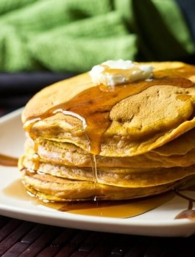 stack of protein pumpkin pancakes