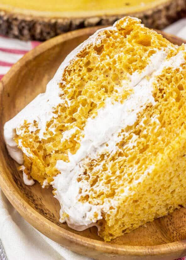 slice of pumpkin angel food layer cake