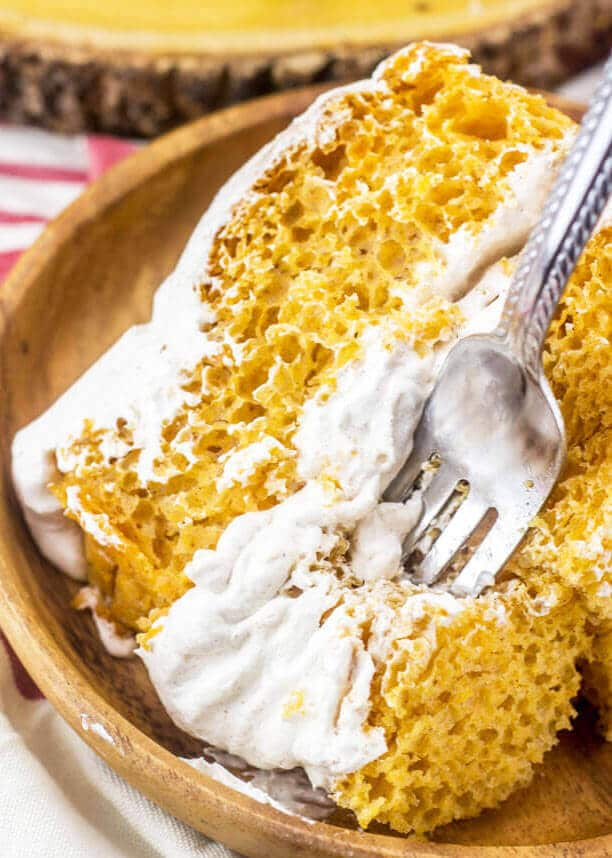 This pumpkin angel food cake has a lightly spiced Cool Whip frosting that complements it perfectly.