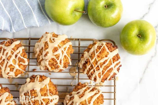 wire rack with caramel apple muffins