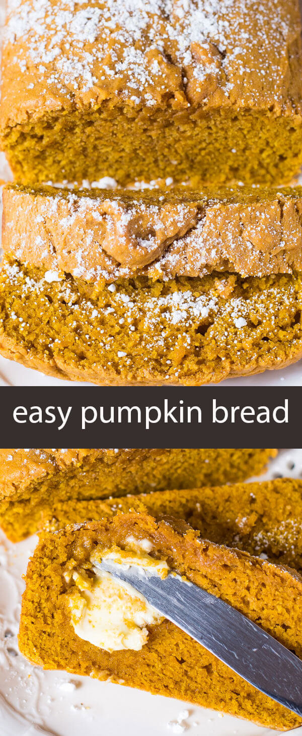 Easy Pumpkin Bread is a quick no-fail bread that has a simple pumpkin flavor. It makes two loaves so you can give one for a gift!
