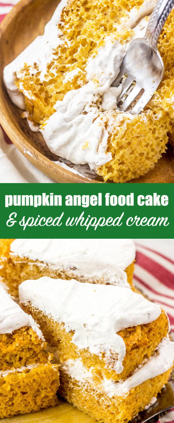 This pumpkin angel food cake has a lightly spiced whipped cream frosting that complements it perfectly. An easy Thanksgiving dessert recipe. Pumpkin Angel Food Cake Recipe {with Spiced Whipped Cream Topping} #thanksgiving #pumpkin #angelfood