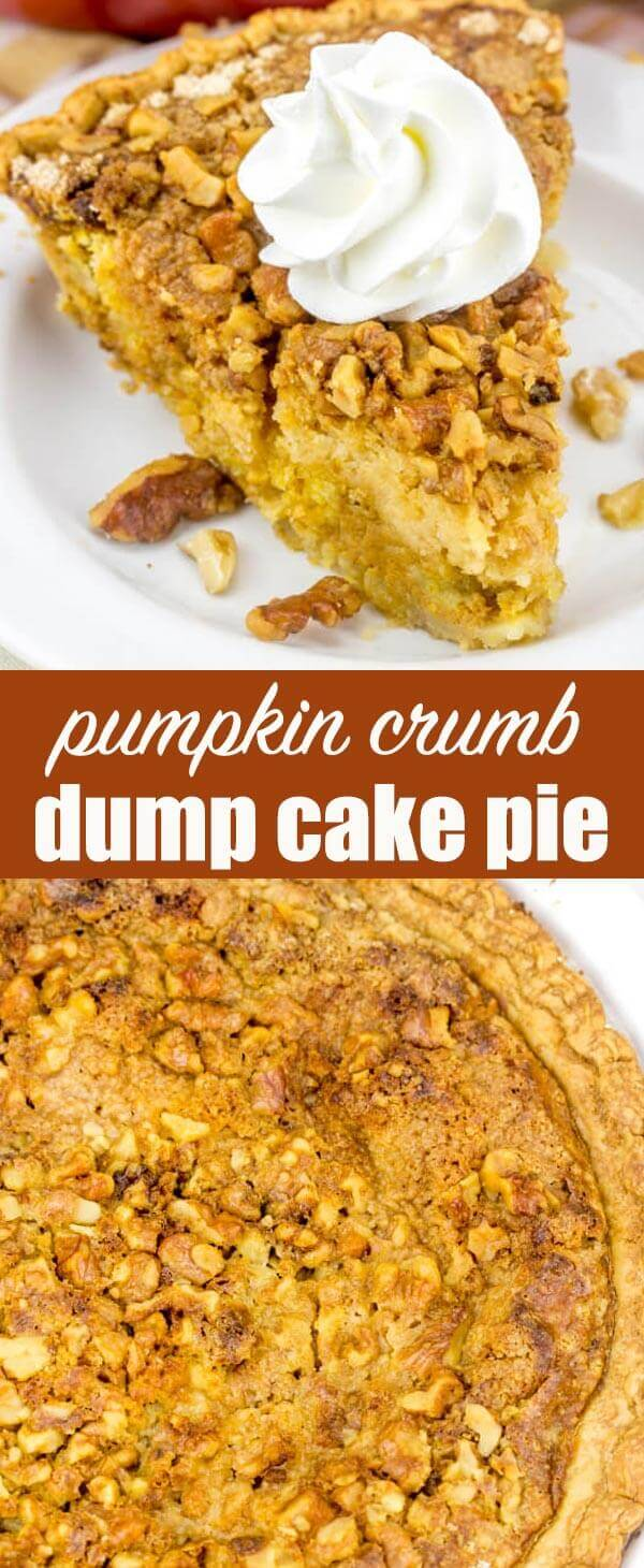 titled photo collage (and shown): Pumpkin Crumb Pie Dump Cake